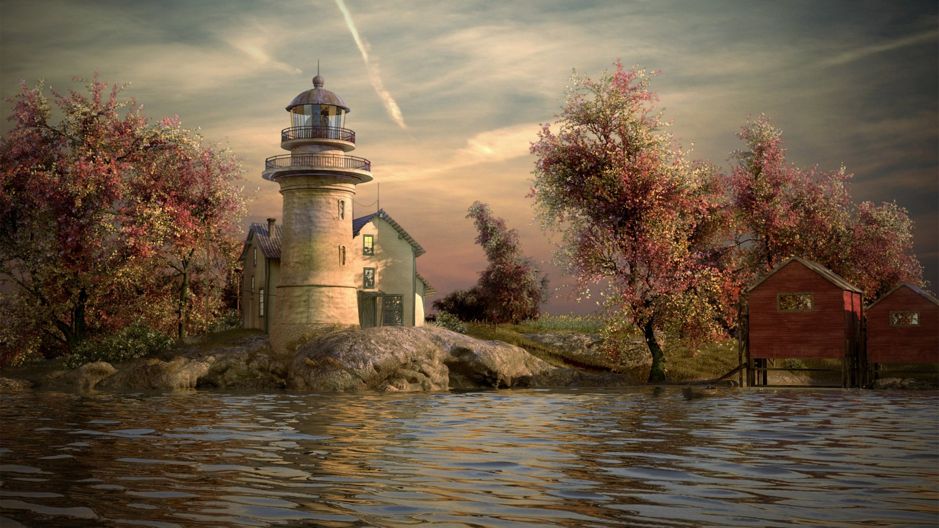 Visualization lighthouse on the river. Presentation job. 2014